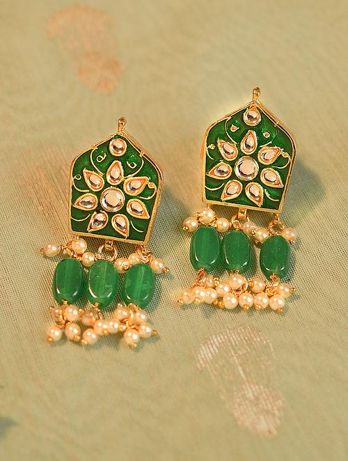 Green Gold Tone Kundan Enameled Earrings With Pearls