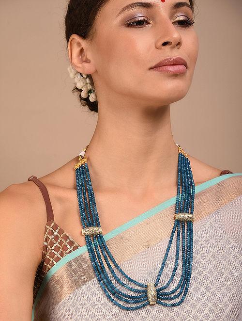 Blue Grey Gold Tone Kundan Enameled Necklace