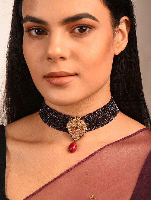 Black Red Gold Tone Kundan Beaded Choker Necklace