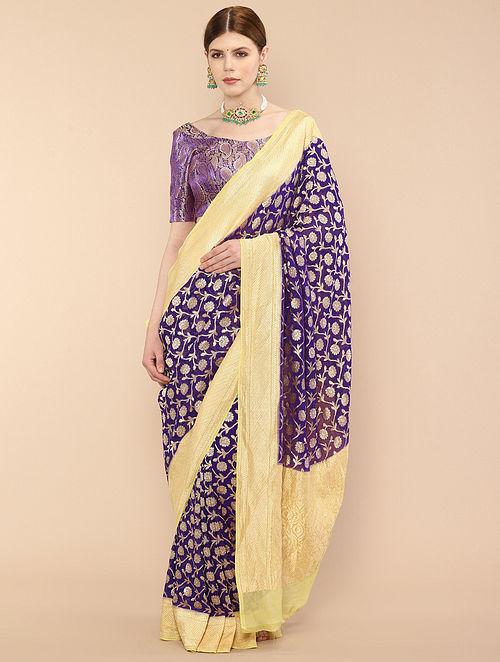 Purple-Yellow Handwoven Benarasi Georgette Saree