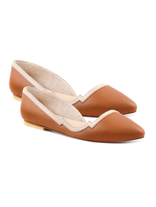 Tan Beige Handcrafted Leather Ballerinas