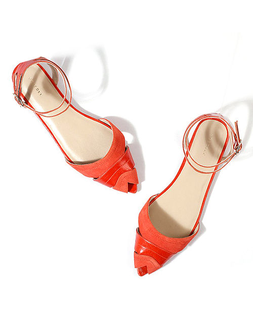 12a39550123 Buy Orange Handcrafted Suede Leather Sandals Online at Jaypore.com