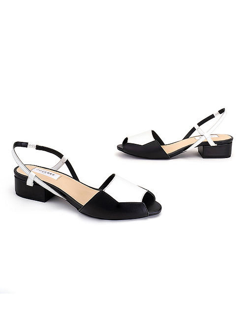 Black White Soft Handcrafted Leather Heels