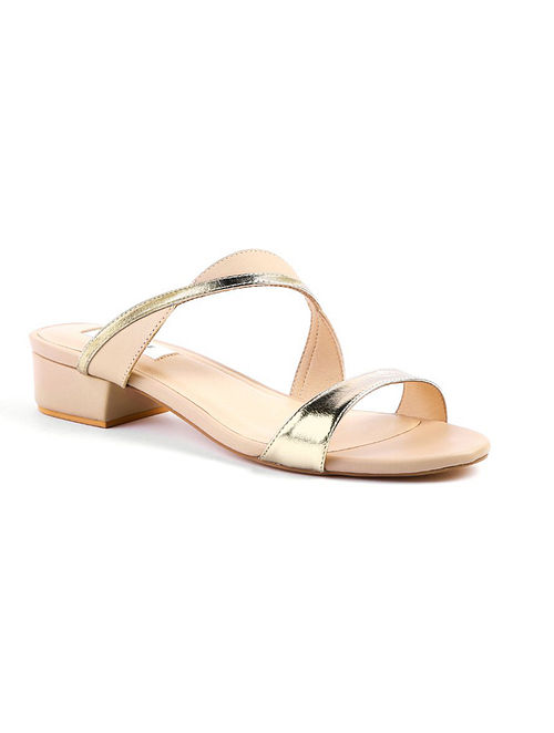 Nude Gold Handcrafted Leather Box Heels