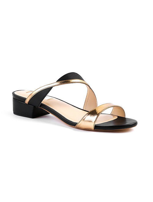 Black Gold Handcrafted Leather Box Heels