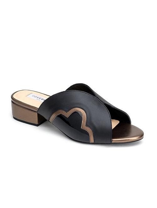 Black Titanium Handcrafted Soft Leather Box Heels
