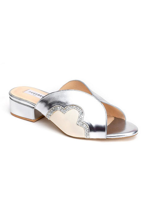 Silver Ivory Handcrafted Soft Leather Box Heels
