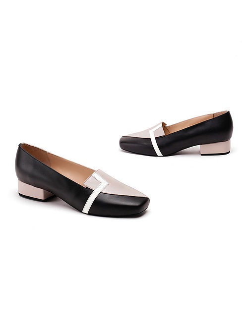 Grey Black Soft and Patent Handcrafted Leather Block Heels