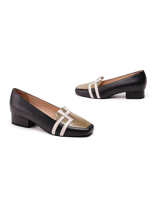 Olive Black Soft and Patent Handcrafted Leather Block Heels