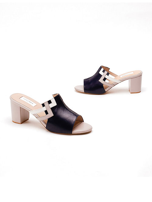 Blue Grey Soft and Patent Handcrafted Leather Block Heels
