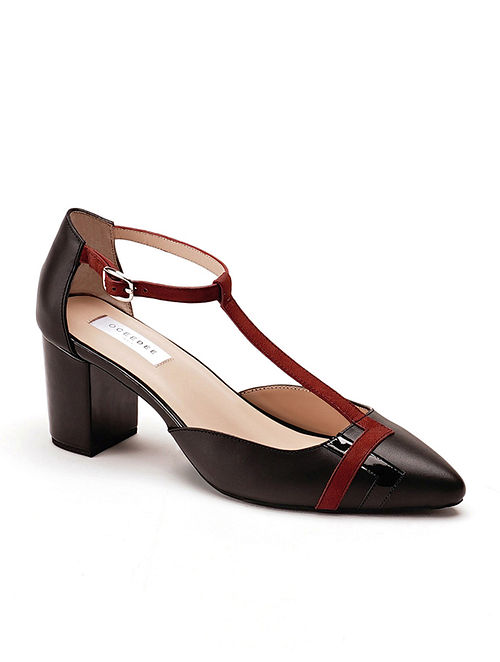 Black Rust Handcrafted Soft & Patent Leather Block Heels