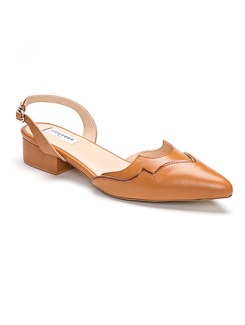 Tan Handcrafted Soft And Patent Leather Block Heels