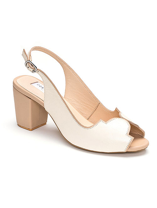 Ivory Nude Handcrafted Soft Leather Block Heels
