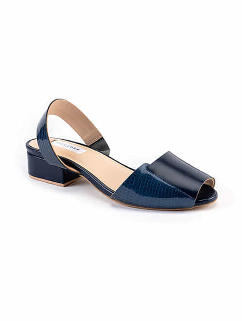 Blue Handcrafted Patent Leather Block Heels