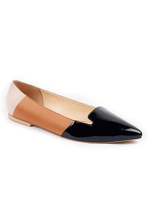 Black Tan Handcrafted Patent Leather Shoes