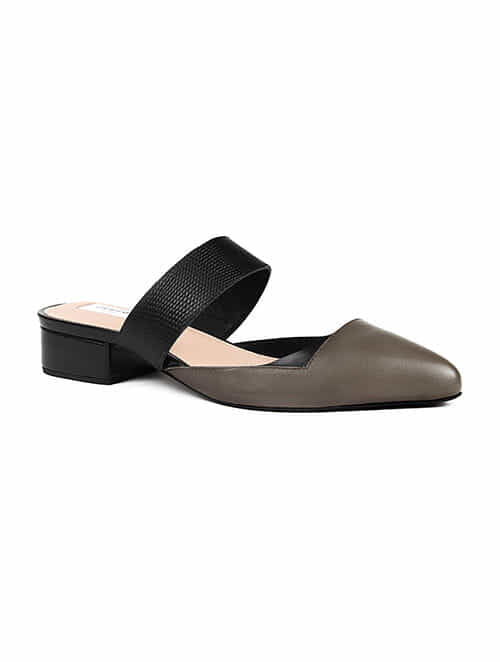 Taupe Black Handcrafted Genuine Leather Block Heels