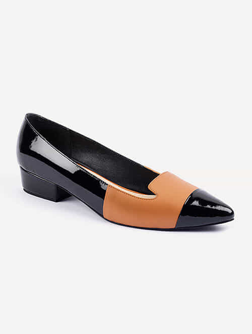 Black Tan Handcrafted Patent Leather Block Heels