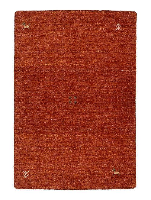 Orange Hand-woven Gabbeh Wool and Cotton Carpet