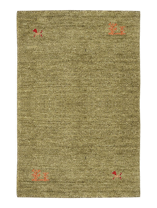 Brown Hand-woven Gabbeh Wool and Cotton Carpet