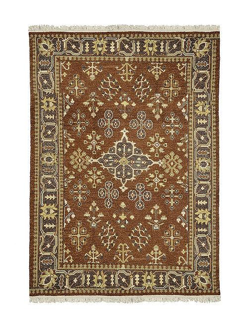 Brown-Grey Hand Woven Wool Kilim Carpet (6.5ft x 4.6ft)