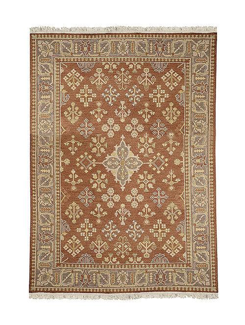 Blue-Brown Hand Woven Wool Kilim Carpet (8ft x 5.8ft)