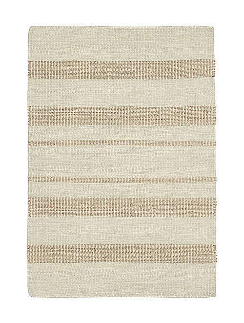 Beige-Brown Hand Woven Wool Kilim Carpet