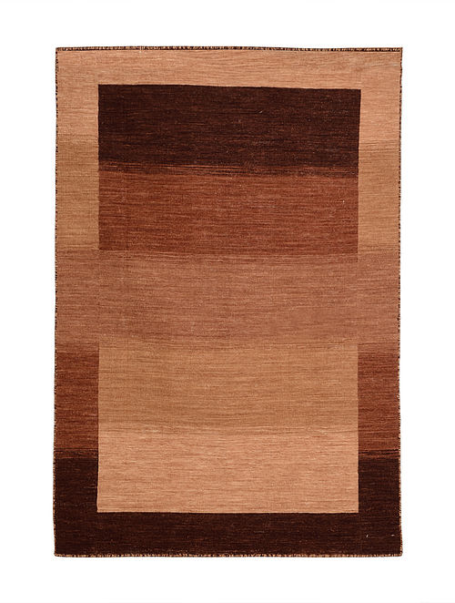 Brown Hand Woven Wool Kilim Carpet (6ft x 4ft)