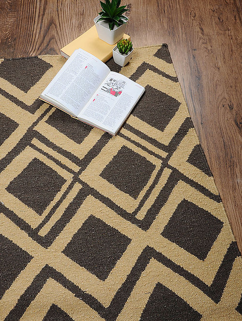 Brown-Beige Hand Woven Cotton Two Tone Dhurrie (6ft x 4ft)