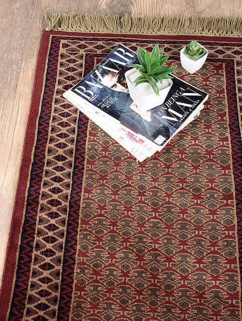 Red-Golden Hand Woven Wool Carpet (3ft x 2ft)