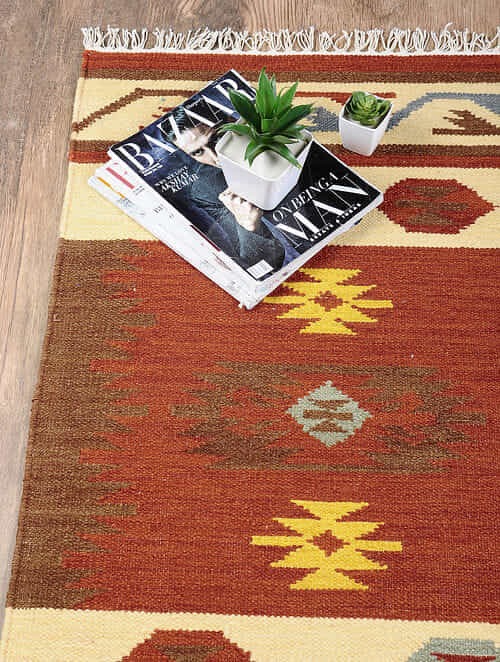 Multicolored Hand Woven Wool Kilim Dhurrie (3 ft.7in x 2ft)