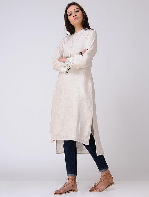 Beige Embroidered Organic Linen Kurta with Pockets