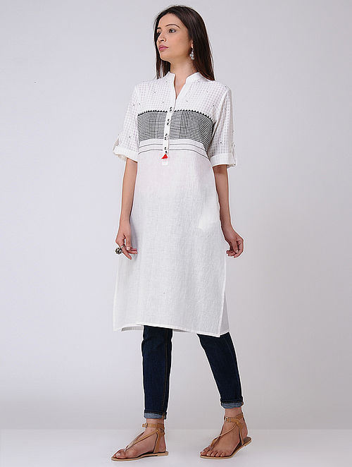 Ivory Embroidered Cotton Khadi Tunic with Tassels