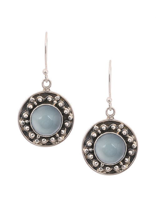 Silver Earrings with Blue Chalcedony