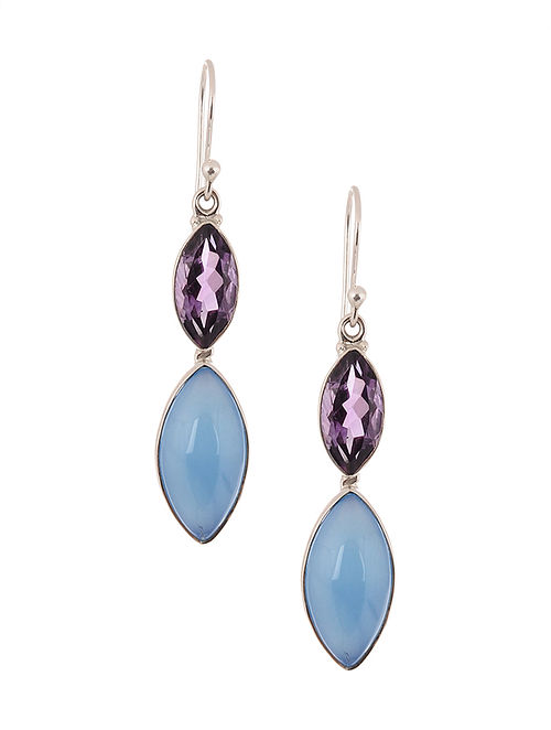 Silver Earrings with Blue Chalcedony and Amethyst