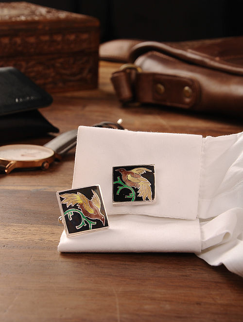 Multicolored Enameled Handcrafted Silver Cufflinks