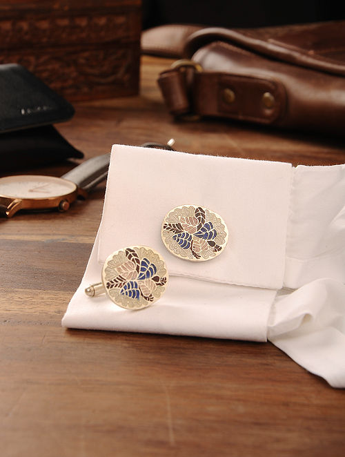 Black Blue Enameled Handcrafted Silver Cufflinks