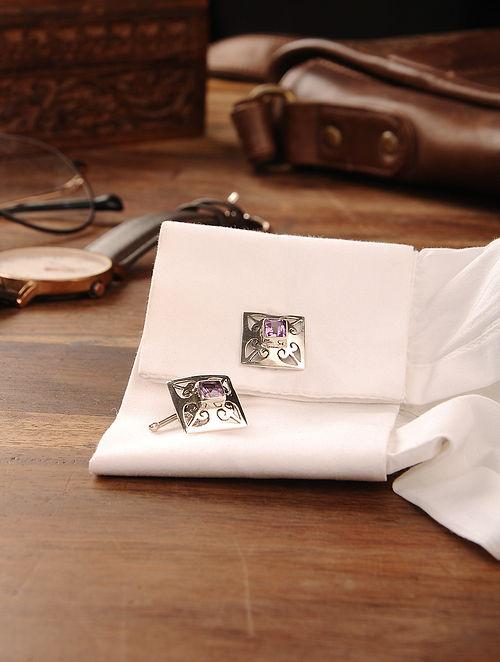 Amethyst Handcrafted Silver Cufflinks