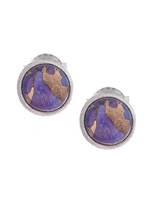Silver Earrings with Purple Turquoise