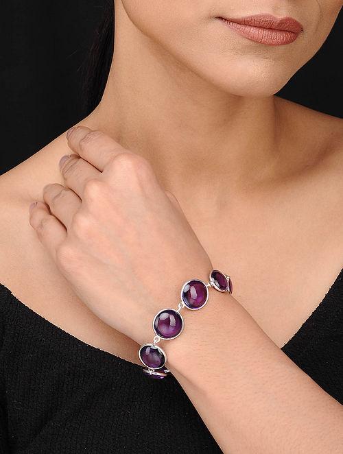 Silver Bracelet with Hydro Amethyst
