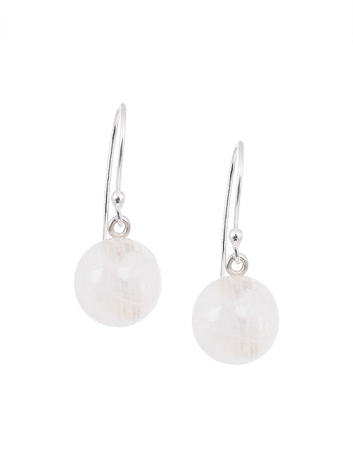 Silver Earrings with Rainbow Moonstone