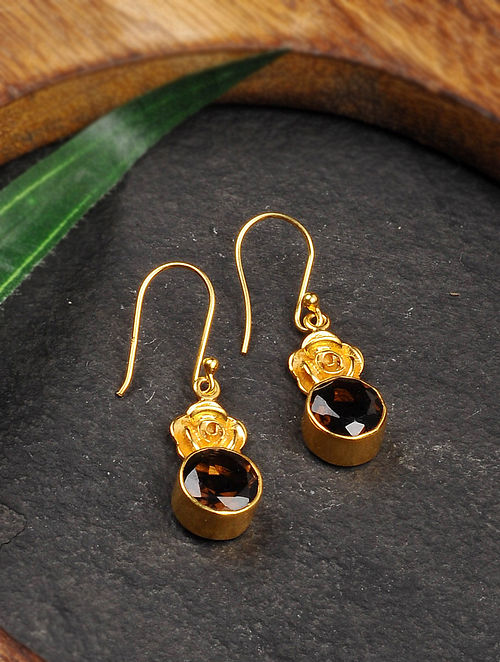 Gold Tone Silver Earrings with Smoky Quartz