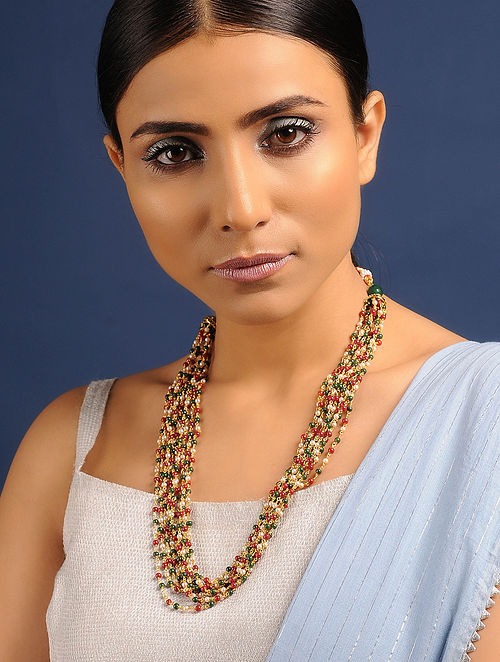 Multicolored Gold Tone Pearl Beaded Necklace