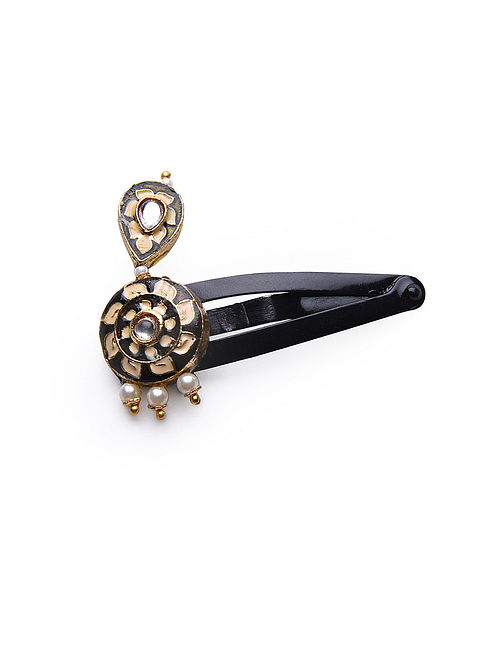 Black Cream Gold Tone Enameled Hair Pin