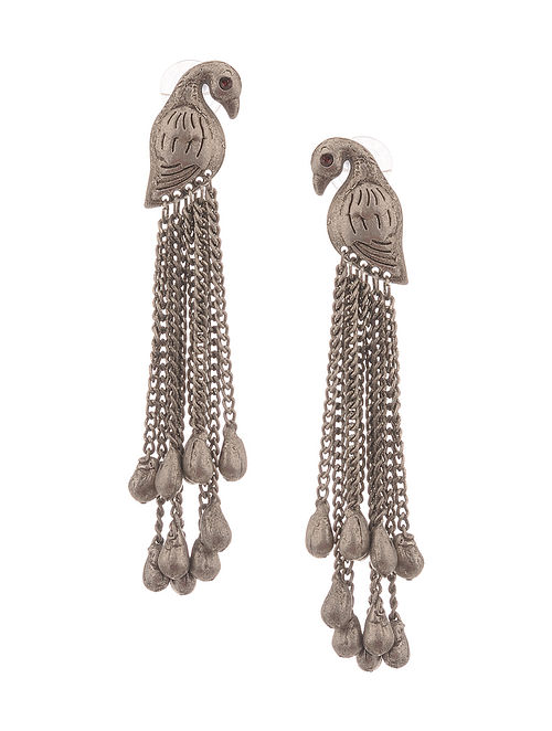 Antique Silver Handcrafted Brass Earrings