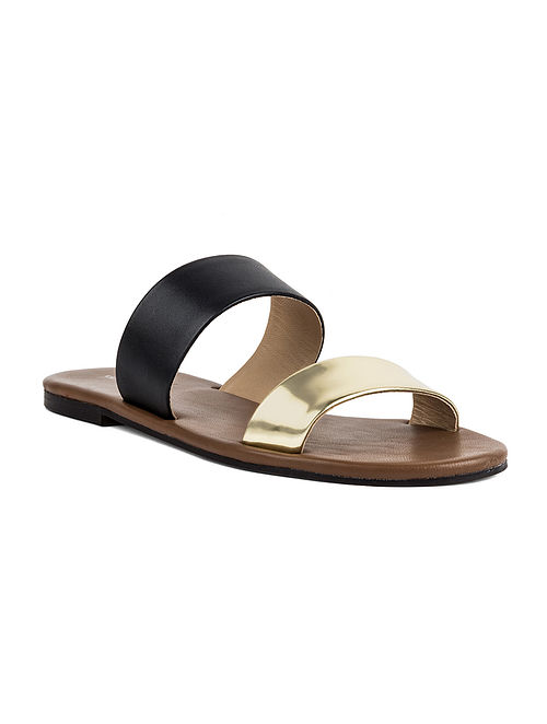 Black Gold Handcrafted Leather Flats