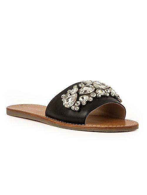 Black Handcrafted Embellished Leather Flats