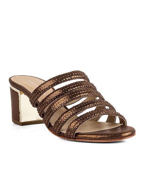 Bronze Handcrafted Metallic Block Heels