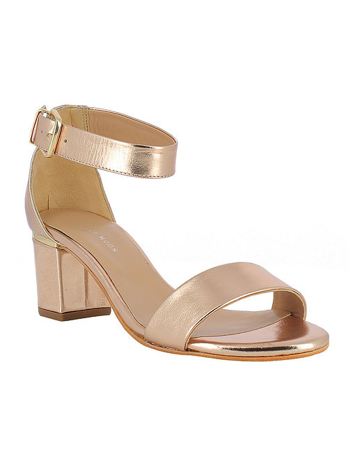 Rose Gold Handcrafted Leather Block Heels