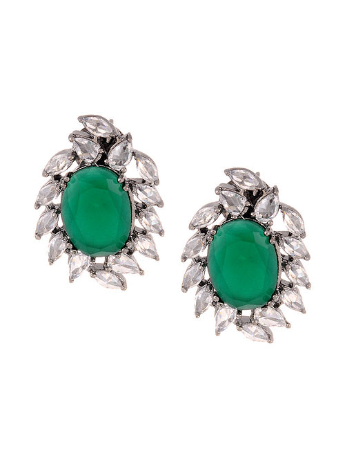 Green Silver Tone Handcrafted Earrings