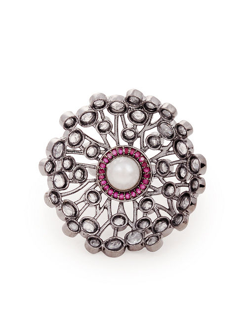 Pink Silver Tone Handcrafted Ring